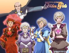 The Golden Girls as the Sailor Moon Sailor Scouts. There is nothing better than this. This is the best thing. It's Tuxedo Stan! TUXEDO STAN!