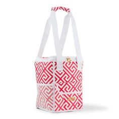 Personalized Pink & White Greek Key Design On-The-Go Cooler (Wedding Star 4455) | Buy at Wedding Favors Unlimited (https://www.weddingfavorsunlimited.com/personalized_pink_white_greek_key_design_on-the-go_cooler_bag.html).