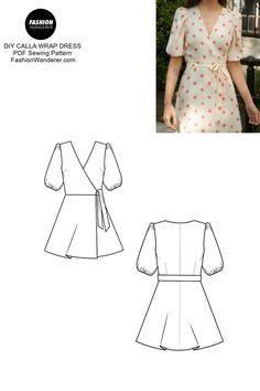 Dress Sewing Patterns, Sewing Patterns Free, Free Sewing, Clothing Patterns, Wrap Dress Patterns, Dress Pattern Free, Dress Sewing Tutorials, Sleeve Pattern, Sewing Ideas