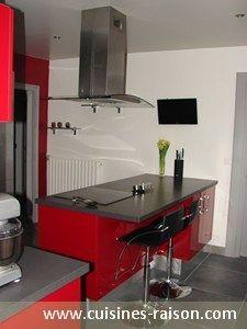 Cuisine Rouge Gris Moderne | cuisine rouge et grise | Pinterest