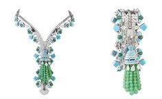 Van Cleef & Arpels Zip necklace in white gold set with diamonds, turquoise, chloromelanite and chrysophrase.