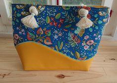 Sac Samba en jaune et bleu cousu par Lucie - Patron Sacôtin