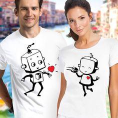 couple shirts / robot t shirt / pärchen t-shirts / matching couple shirts / cute couple shirts / his and hers shirts / Christmas shirts Cute Couple Shirts, Couple Tees, Matching Couple Shirts, Matching Couples, Family Shirts, Matching Outfits, Kids Shirts, Cool T Shirts, Funny Shirts