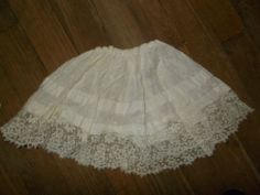antique french childs broderie anglaise and lace petticoat, deep starched lace!!