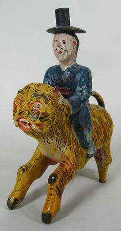 Painted wood, man on tiger. Korean 19th C.