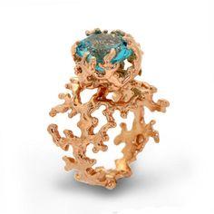 Coral Rose Gold Blue Topaz Ring | Arosha Luigi Taglia