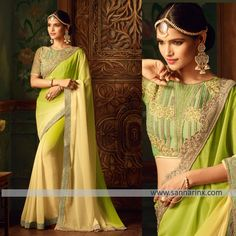 Style and trend could be on the peak of your attractiveness when you attire this green faux georgette shaded saree. The ethnic embroidered and patch border work over a dress adds a sign of elegance statement for the look. Comes with matching blouse.