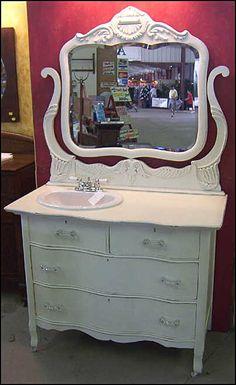 Dressers as Bathroom Vanities Antique Bathroom Vanity / Dresser with Sink For the Home Vanity Redo, Dresser Vanity, Vanity Ideas, Vanity Sink, Chic Bathrooms, Amazing Bathrooms, Bathroom Vanities, Bathroom Ideas, Bathroom Organization