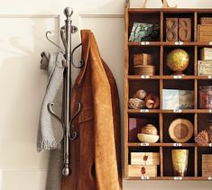 Wall-Mount Coat Rack #potterybarn and cubby organizer... How great would this be in my living room where there is no room to take up the floor space!