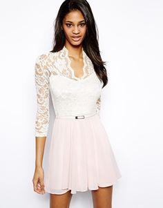 John Zack Skater Dress With Lace Bodice  amp  Belt Engagement Party  Dresses 54c145586