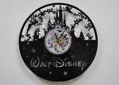 Disney Uhr Vinyl Record Wanduhr Disney Schloss Uhr Vinyl Wanddekoration Disney Kinder Geschenk Disney Disney World-Disney Geschenk-Dekoration Disney