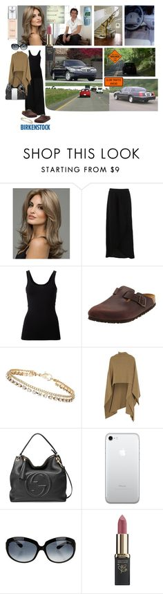 """""""Mature, lonely woman hurries to be with her young artistic lover❤️👩🏼👗💄👜🕶🚘🛣🚦❤️"""" by chrisiggy ❤ liked on Polyvore featuring FRACOMINA, Theory, Birkenstock, Dorothy Perkins, Madeleine Thompson, Gucci, Nokia, Episode, Oliver Peoples and L'Oréal Paris"""