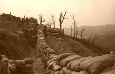 Vietnam: Hill 881S- Khe Sanh.  A trench line on Hill 881 South. On 20 Jan 1968 the 2nd battle for Khe Sanh began when USMC from 3rd Batt, 26th Marines attacked a NVN battalion between Hills 881S & 881N
