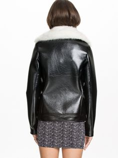 Fur collar leather motorcycle jacket