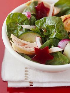 Leftover Turkey Recipe: Cranberry-Turkey Spinach Salad