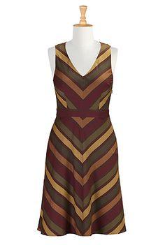 #eShakti Chevron woven stripe dress