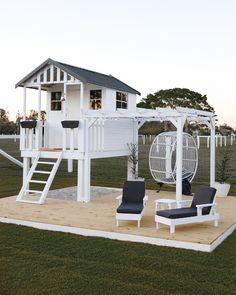 Creative mum turns cubby house from Bunnings into Hamptons h.-Creative mum turns cubby house from Bunnings into Hamptons haven - Backyard Playhouse, Backyard Playground, Backyard Patio, Kids Playhouse With Slide, Playhouse Decor, Modern Playground, Modern Playhouse, Kids Playhouse Plans, Playhouse Interior