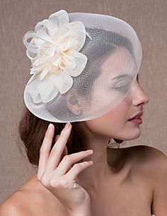 4 99 Crystal Fabric Organza Tiaras Fascinators Flowers With 1 Wedding Party Evening Headpiece Hats Lightinthebox