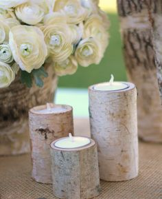 Birch log candle holders found on Etsy.