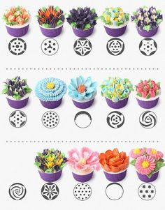 chart for russian piping tips - yahoo image search results Icing Frosting, Frosting Tips, Cupcake Icing, Cupcake Cakes, Russian Icing Tips, Russian Cakes, Russian Cake Decorating Tips, Cake Decorating Techniques, Decoration Patisserie
