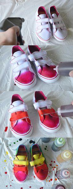 Tie dye rainbow shoes - so cute!