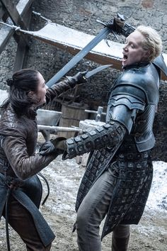 """7.04 """"The Spoils of War"""" – Arya and Brienne sparring. It was a moment we didn't even know we wanted to see. And when it came, it was absolutely brilliant!"""