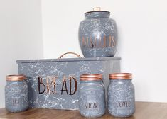 Hand painted Marble Bread bin copper kitchen decor from Etsy Copper And Grey Kitchen, Rose Gold Kitchen, Copper Kitchen Decor, White Kitchen Decor, Mason Jar Kitchen Decor, Mexican Kitchen Decor, Kitchen Decor Signs, Kitchen Decor Themes, Mason Jars