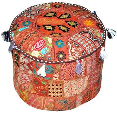 Ottoman Cover, Pouf Ottoman, Bean Bag Furniture, Furniture Decor, Ikea Pouf, Medieval Tapestry, Ottoman In Living Room, Vintage Patches, Embroidered Bag