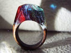 Walnut wood ring Splatter. Womens wooden ring.
