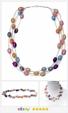 """triple strand freshwater Pearl Necklace 48"""" multi colors #ebay http://stores.ebay.com/JEWELRY-AND-GIFTS-BY-ALICE-AND-ANN"""