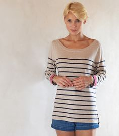 Breton Stripe Top | Silk & Cotton | Women's Sweater | Wool Overs USA