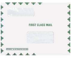 Double Window Tax Organizer Mailing Envelope  • Envelope Size: 9 x 11 1/2 • Top Window Size: 1 1/2 x 4 1/2 • Top Window From Left Side: 1 1/16 • Top Window From Bottom: 6 9/16 • Bottom Window Size: 2 x 4 1/2 • Bottom Window From Left Side: 4 1/4 • Bottom Window From Bottom: 2 • 28lb white wove stock • Envelope holds 30-40 pages