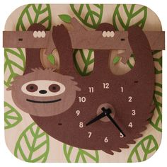 Kids Clock - Sloth. Fun natural birch wood clock with a cool 3D pop out effect - hangs on wall.