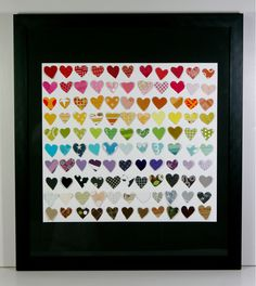 Valentine art with paint samples and scrapbook paper. This is adorable! Hearts are my favorite. :)