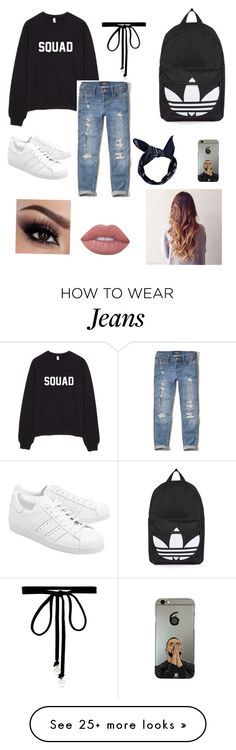 """""""Cute outfit with boyfriend jeans"""" by chidsey on Polyvore featuring Hollister Co., adidas Originals, Topshop, Boohoo, Joomi Lim and Lime Crime"""
