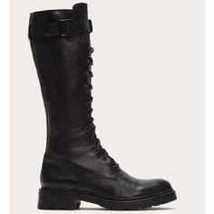 - Italian leather</br>- Leather lined</br>- Leather outsole</br>- Fabric laces</br>- Antique silver hardware</br>- Goodyear welt construction </br>- shaft height</br>- 12 shaft circumference</br>- 1 heel height Black Army Boots, Black Lace Up Boots, Black Leather Boots, Tall Boots, High Boots, Frye Boots, Over The Knee Boots, Goodyear Welt, Italian Leather