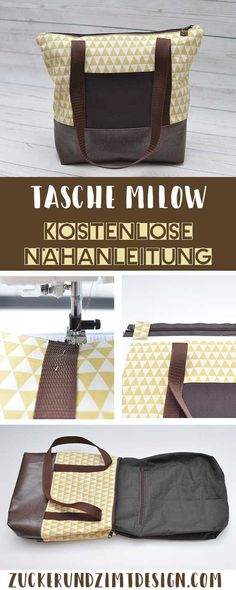 Sew the Milow bag [DIY-Anleitung mit kostenlosen Schnittmuster und Video] - Sugar and cinnamon design- Tasche Milow nähen [DIY-Anleitung mit kostenlosen Schnittmuster und Video] – Zucker und Zimt Design Free sewing pattern bag Milow with … - Bag Patterns To Sew, Sewing Patterns Free, Free Sewing, Free Pattern, Diy Home Decor Projects, Diy Home Crafts, Sewing Hacks, Sewing Tutorials, Sewing Tips