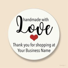 Handmade with Love Business or Hobby Sticker - SBs PaperCraft Thank You Stickers, Love Stickers, Business Stickers, Business Names, Packaging Stickers, Packaging Ideas, Personalised Prints, Flower Embroidery Designs, Round Labels