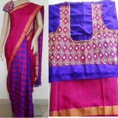Embroidered blouse for checks half and half saree
