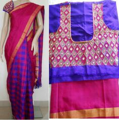 Embroidered blouse for checks half and half saree