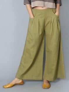 Women Plus Size Casual Wide Leg Shift Cotton Pockets Solid Pants Salwar Designs, Blouse Designs, Trouser Pants, Wide Leg Pants, Skirt Pants, Fashion Pants, Fashion Outfits, Salwar Pants, Pants For Women