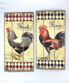 Rooster Wall Plaque Set