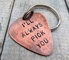Personalized Guitar Pick KeyChain - Personalized Copper Hand Stamped Guitar Pick - Mens Gift - 2 sided pick Key Chain - Custom gift for Him