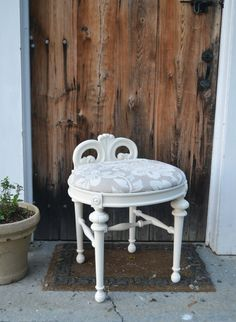 Vintage Refurbished White Vanity Stool with Embroidered Floral Linen Seat