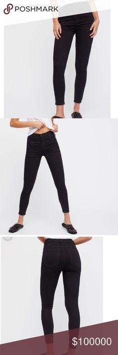 COMING SOON!!! Free People High Rise Skinny Jean High rise black skinny jeans by Free People. Perfect day to night skinny with 5 pocket style. Button and zip fly. 2% spandex 22% polyester 23% rayon 53% cotton. Free People Jeans Skinny