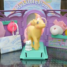 ATCTTeam Vintage My Little Pony 'Kiss Curl' & 'Snowball' Boxed by TeaJay, Vintage  Toy  Animal  Grooming Parlour  Brush Me  Beautiful Boutique  Pretty Parlour  UK  EU  G1  Boxed  MLP my little pony  Kiss Curl  Snowball  Set