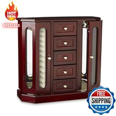 Cherry Jewelry Box Wood Large Organizer Chest Vintage Armoire Glass Mirror New #Generic