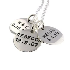 Mommy Jewelry Personalized Handstamped Sterling Silver Discs  by MetalPressions