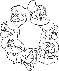 Snow White And The 7 Dwarfs Coloring Pages - On this page, you will be able to print the Snow White coloring pictures. Luckily as you know, she is only asleep and will be woken up by her prince c. Snow White Coloring Pages, Disney Coloring Pages, Coloring Book Pages, Coloring Pages For Kids, Princess Coloring Pages, Disney Crafts, Disney Art, Images Disney, Seven Dwarfs