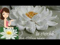 Flor Vitória régia de crochê - YouTube